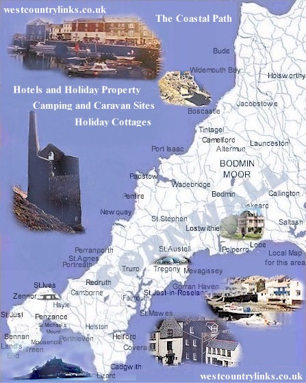 The Cornwall Map Of Towns And Villages And Cornwall
