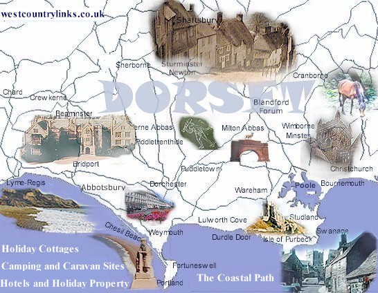 Dorset map with accommodation c&ing and cottages also Dorset attractions. & Dorset map with accommodation camping and cottages also Dorset ...