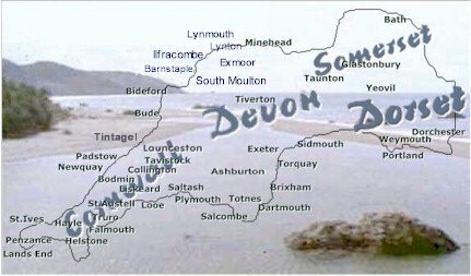 Westcountry Map And Towns And Villages Of Cornwall Devon